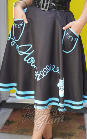 Kissing Charlie Hold On Skirt in Black & Turquoise telephone