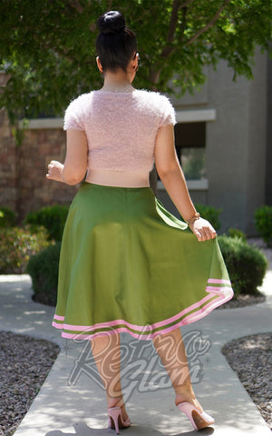 Kissing Charlie Hold On Skirt in Green & Pink back