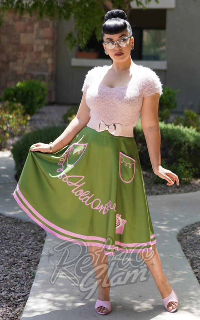 Kissing Charlie Hold On Skirt in Green & Pink