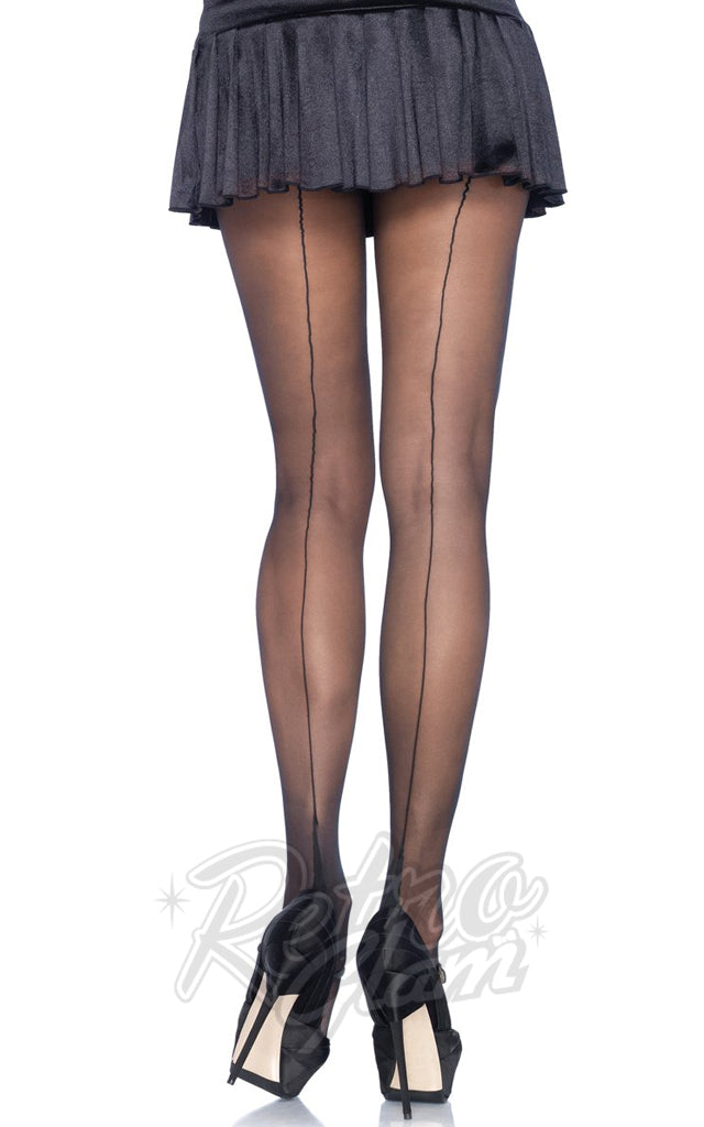 Leg Avenue 9132 Sheer Black Cuban Heel Backseam Pantyhose