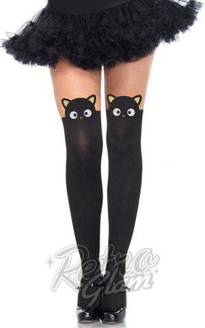 Leg Avenue Chococat Spandex Opaque Pantyhose with Sheer Thigh Accent