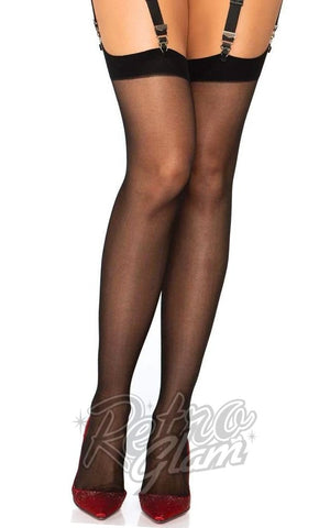 Leg Avenue Sheer Cuban Heel Backseam Stockings in Black/Red front