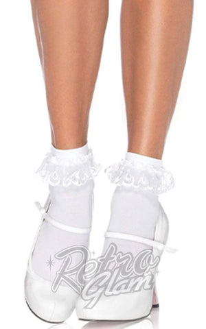 Leg Avenue Anklet with Lace Ruffle in white