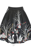 Lindy Bop Daniella Black Swan Border Print Skirt