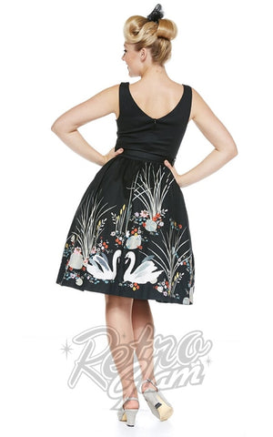 Lindy Bop Delta Black Swan Border Dress