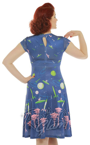 Lindy Bop Juliet Blue Space Dog Print Dress