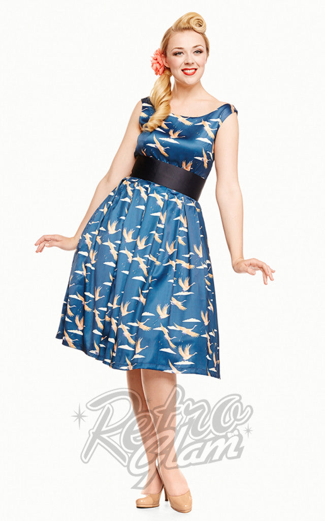 Lindy Bop Lana Dark Blue Bird Print Dress