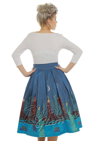Lindy Bop Marnie Teal New York City Print Skirt