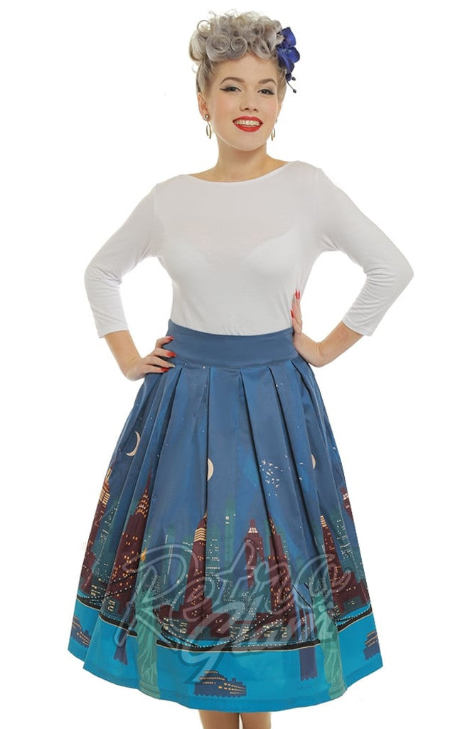 new high quality best prices top design Lindy Bop Marnie Teal New York City Print Skirt