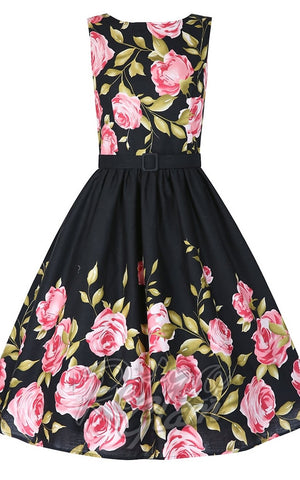 Lindy Bop Audrey Pink Rose Border Dress