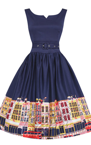 Lindy Bop Delta Navy Carnaby Street Dress