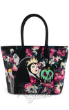 Loungefly Disney's Villians Malificent and The Evil Queen Grimhilde painted Floral Tote Bag back