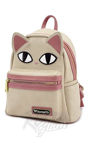 Loungefly Cat Face Fishbone Mini Backpack side