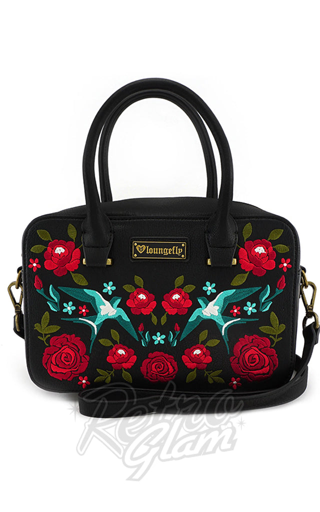 Loungefly Swallows & Roses Crossbody Handbag