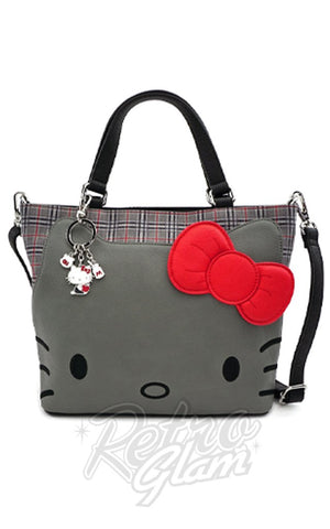 Loungefly x Hello Kitty Grey Plaid Applique Head Crossbody Bag