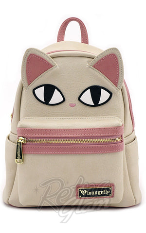 Loungefly Cat Face Fishbone Mini Backpack