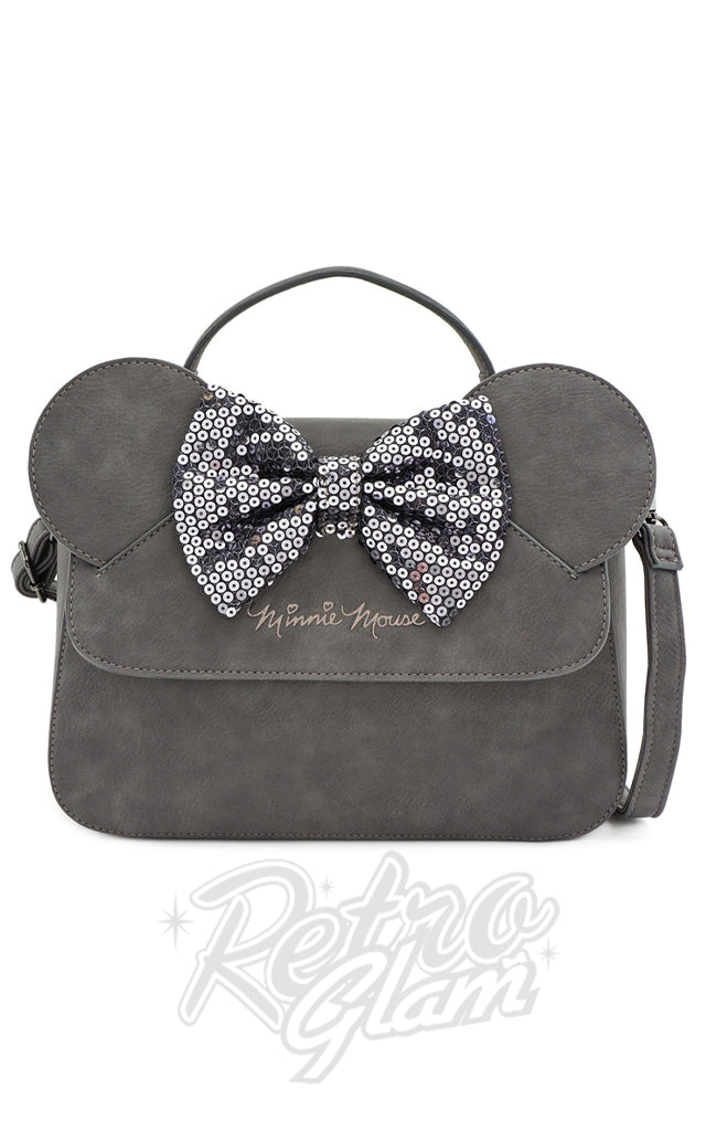 Loungefly X Disney Minnie Mouse Grey Sequin Bow Handbag