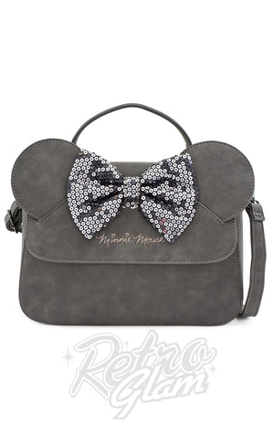 Loungefly X Disney Minnie Mouse Grey Sequin Bow Handbag - Pre-Order