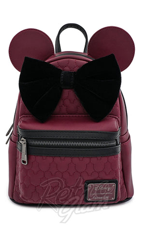Loungefly x Disney Minnie Mouse Maroon Quilted Backpack