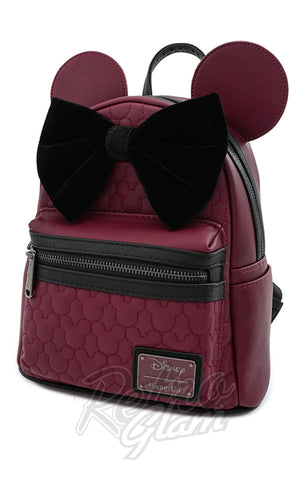 Loungefly x Disney Minnie Mouse Maroon Quilted Backpack - Pre-Order