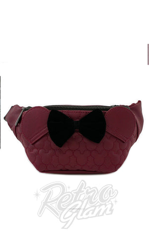 Loungefly x Disney Minnie Mouse Maroon Quilted Fanny Pack - Pre-Order