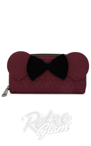 Loungefly x Disney Minnie Mouse Maroon Quilted Wallet - Pre-Order