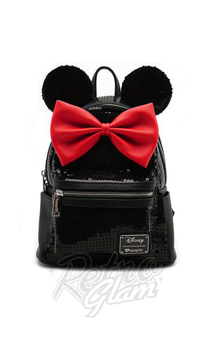 Loungefly Disney's Minnie Mouse Backpack in Black Sequins