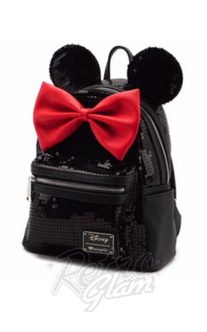 Loungefly Disney's Minnie Mouse Backpack in Black Sequins side