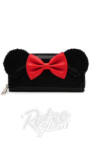 Loungefly Disney's Minnie Mouse Wallet in Black Sequins