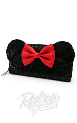 Loungefly Disney's Minnie Mouse Wallet in Black Sequins side
