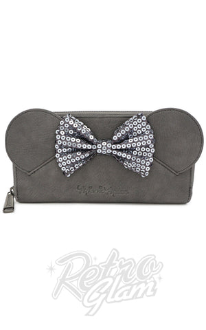 Loungefly x Disney Grey Sequin Bow Wallet
