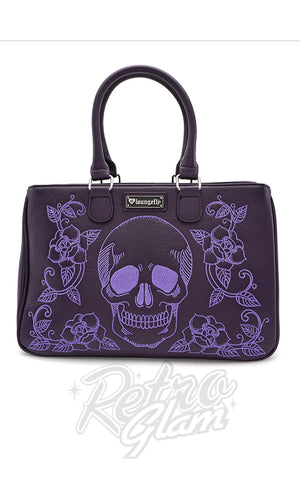 Loungefly Skull & Roses Purple Handbag