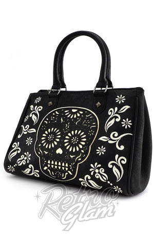 Loungefly Black and White Sugar Skull Tote Bag side