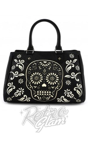 Loungefly Black and White Sugar Skull Tote Bag