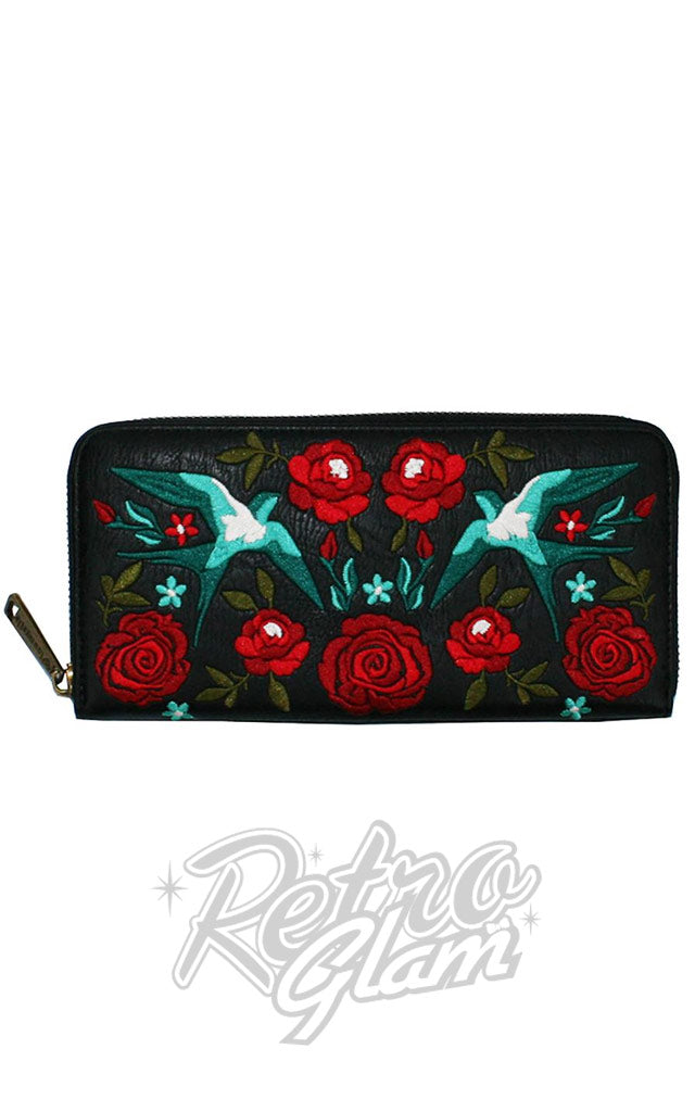 Loungefly Swallows & Roses Zip Around Wallet