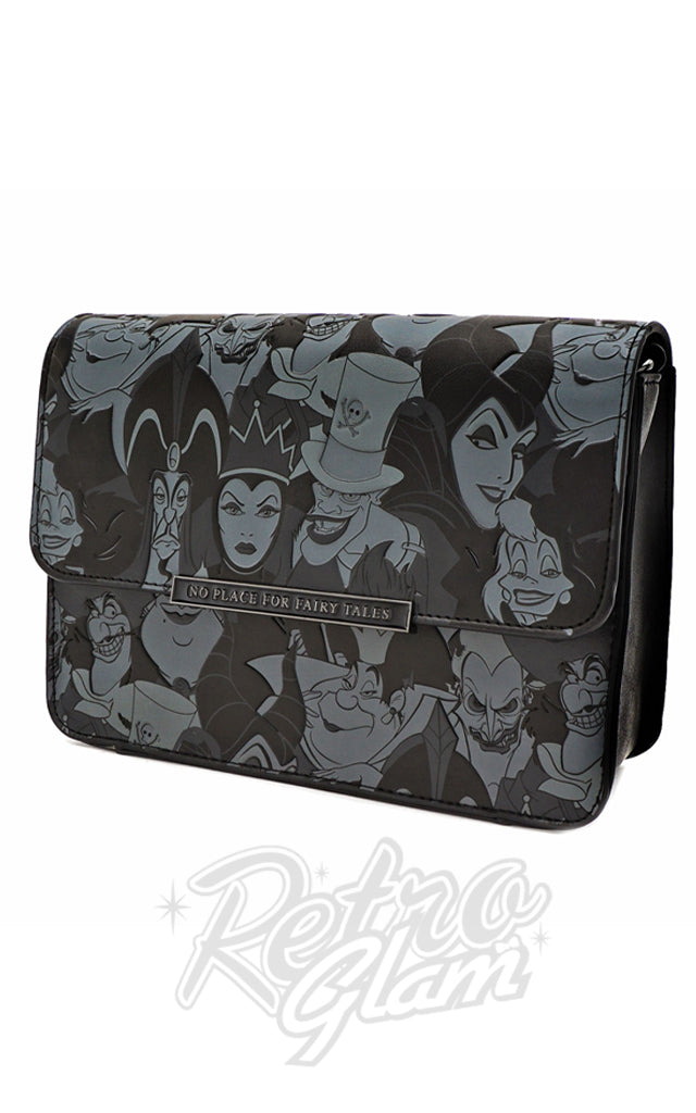 Loungefly x Disney Villains Black and Grey AOP Crossbody Bag