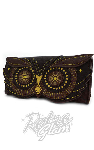 Loungefly Owl Face Flap Wallet in Brown Side