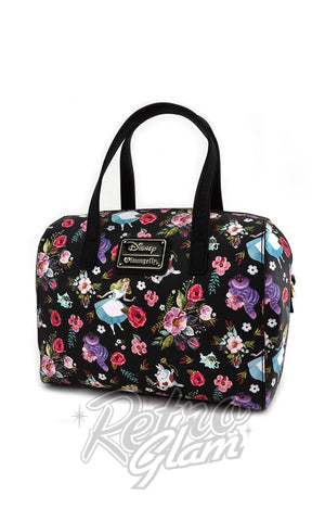 Loungefly Alice Character Floral print saffiano faux leather Duffle Bag front