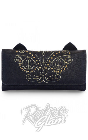 Loungefly vegan friendly faux leathergold stitch Cat Wallet front