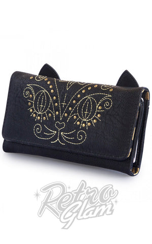 Loungefly vegan friendly faux leathergold stitch Cat Wallet side