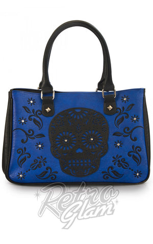 Loungefly Laser Cut cobalt Blue Tote with black sugar skull applique and embroidery front