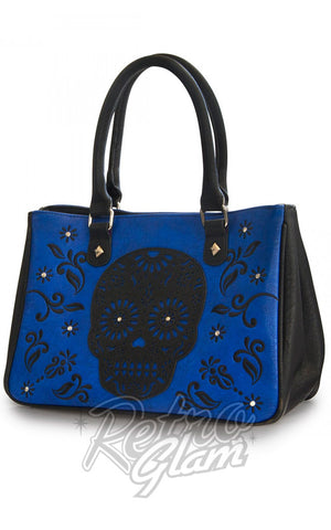 Loungefly Laser Cut cobalt Blue Tote with black sugar skull applique and embroidery front side