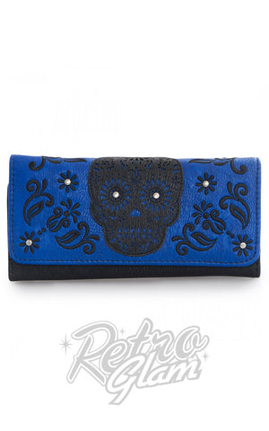 Loungefly Laser Cut Blue Wallet with black sugar skull applique front