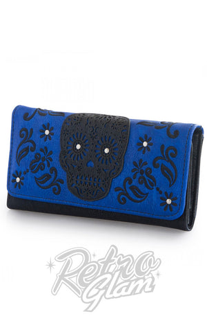 Loungefly Laser Cut Blue Wallet with black sugar skull applique front side