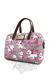Loungefly Disney's Marie Aristocats grey with pink Floral saffiano faux leather Duffle Bag