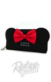 Loungefly black Minnie Mouse with Ears and red Bow Zip Around Wallet front
