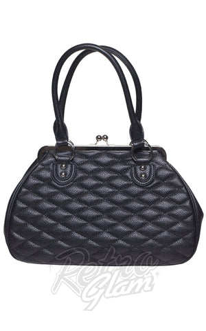 Lux De Ville Hold Fast Kiss Lock Handbag in Matte Black back