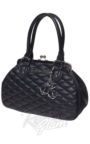 Lux De Ville Hold Fast Kiss Lock Handbag in Matte Black