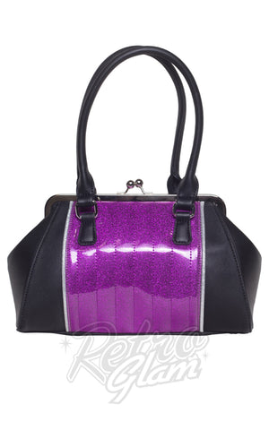 Lux De Ville V8 Kiss Lock Handbag in Black & Purple Sparkle back