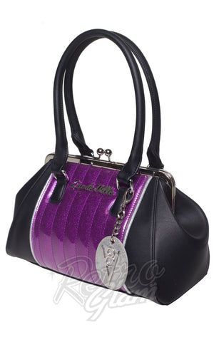 Lux De Ville V8 Kiss Lock Handbag in Black & Purple Sparkle